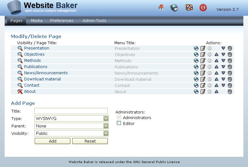 Guia de administrador de Website Baker - SIE de Investigación y ...